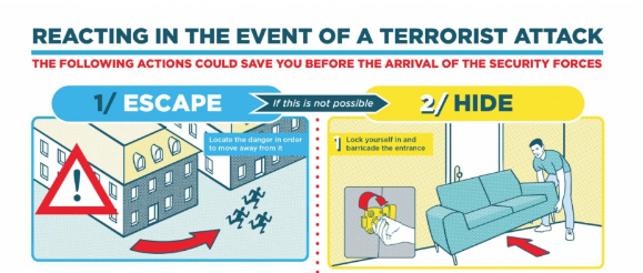 Infographic - HOW TO REACT IN THE EVENT OF A TERRORIST ATTACK?