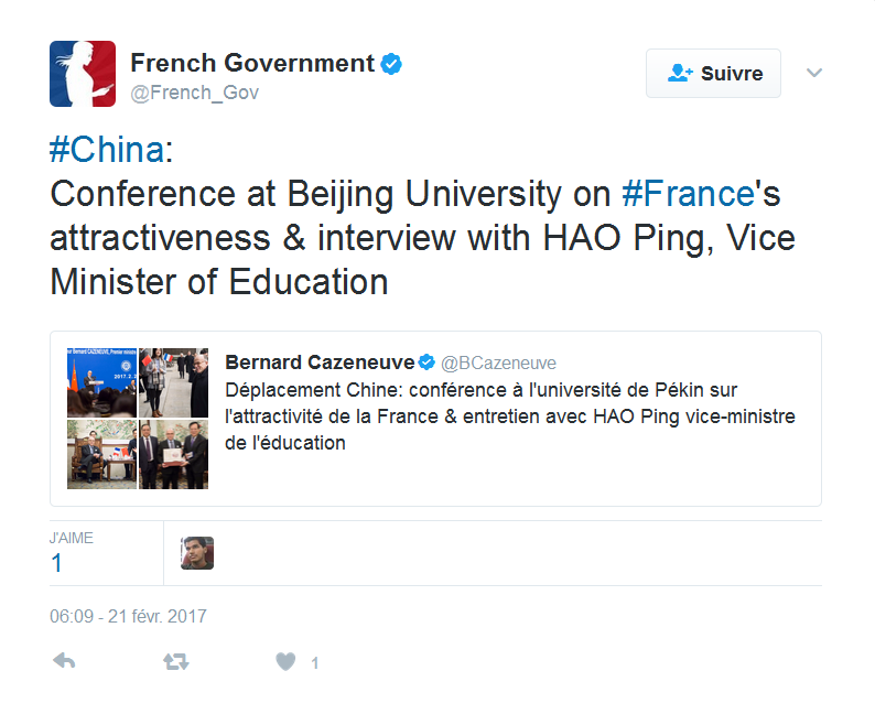Bernard Cazeneuve's Tweet (China)