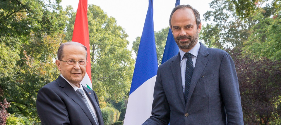 Lebanon's President, Michel Aoun, and France's PM Edouard Philippe