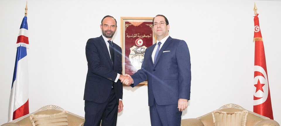 Edouard Philippe and his Tunisian counterpart Youssef Chahed,