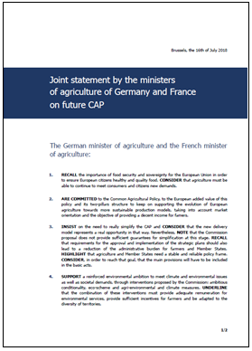 German and French agriculture ministers on the future CAP