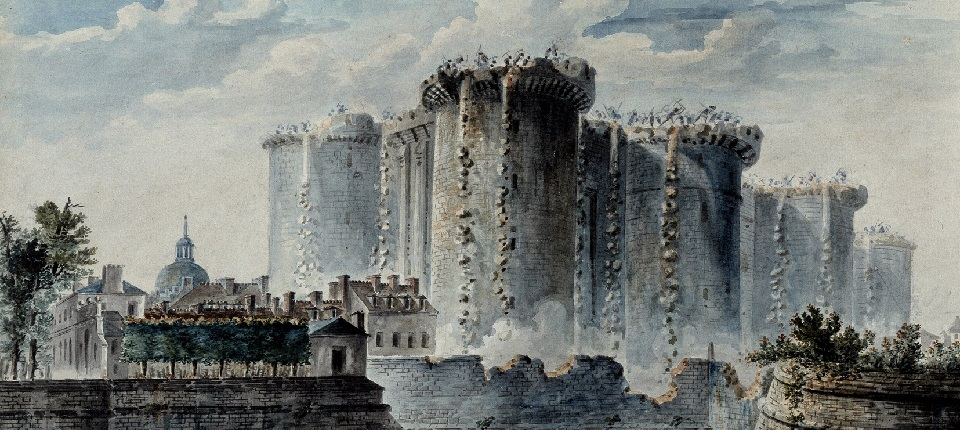 The storming of the Bastille in Paris - Painting of Jean Pierre Houel (1735-1813)