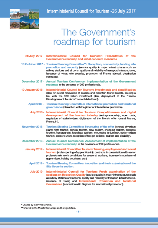 French Government Roadmap for Tourism