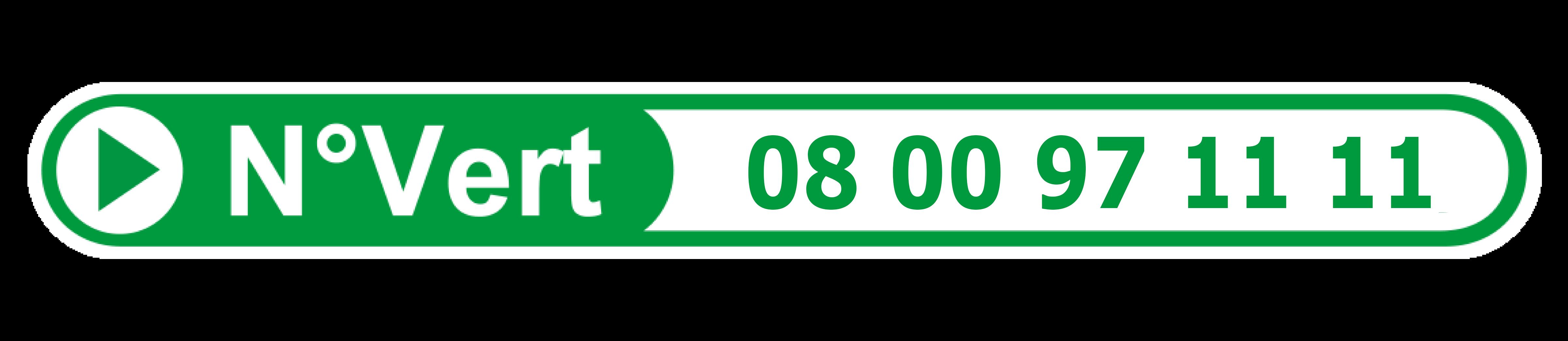 Numéro vert : 08 00 97 11 11