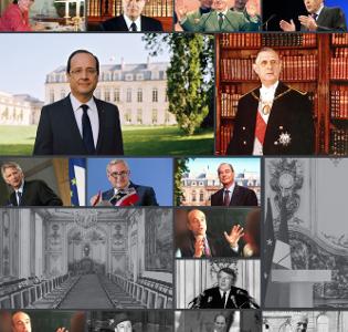 Mosaique de photos des ministres et présidents de la Vème République
