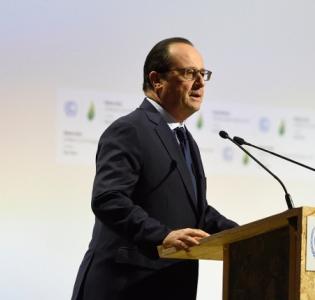 Photo du président François Hollande lors du discours d'ouverture de la Conférence de Paris sur la climat 2015