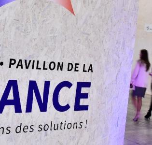 Photo de l'entrée du pavillon France COP 21 au Bourget