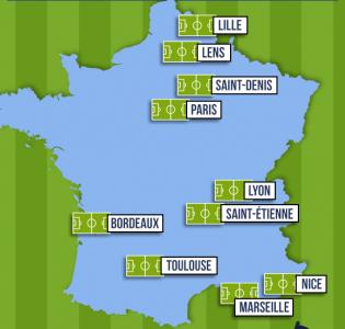 Les 10 villes hôtes de l'Euro 2016