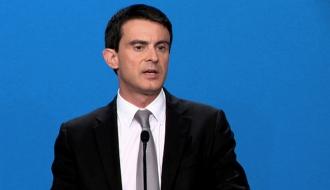 Manuel Valls devant la presse à l'issue du séminaire intergouvernemental réuni à l'Elysée