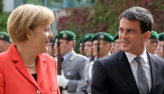 Angela Merkel et Manuel Valls lors du voyage officiel du Premier ministre français en Allemagne le 22 septembre 2014
