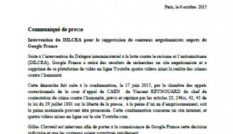 Intervention du DILCRA pour la suppression de contenus négationnistes auprès de Google France