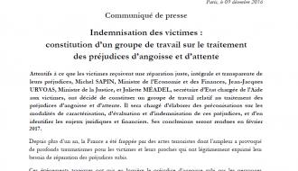 Indemnisation des victimes : constitution d'un groupe de travail sur le traitement des préjudices d'angoisse et d'attente