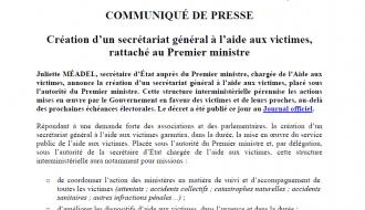 Création d'un secrétariat général à l'aide aux victimes, rattaché au Premier ministre