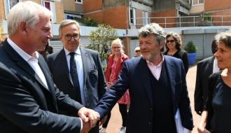 Thierry Lepaon et Jean-Louis Borloo en visite à Grand Paris Sud