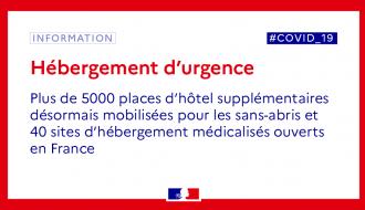 Covid-19 : Plus de 5000 places d'hôtel supplémentaires désormais mobilisées pour les sans-abris et 40 sites d'hébergement médicalisés ouverts en France.