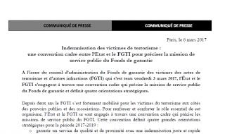 Indemnisation des victimes de terrorisme : une convention cadre entre l'Etat et le FGTI pour préciser la mission de service public du Fonds de garantie
