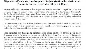 Signature d'un accord cadre pour l'indemnisation des victimes de l'incendie du Bar le « Cuba Libre » à Rouen