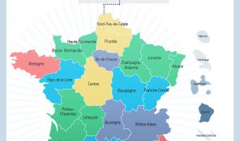 De 22 à 13 régions métropolitaines - voir en plus grand