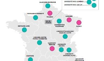 Infographie : État des lieux du regroupement des universités au 22 juillet 2014 - voir en plus grand