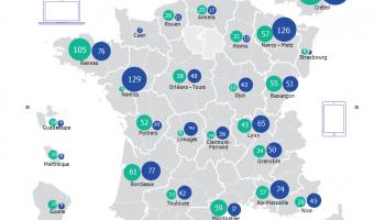 Infographie : Écoles et collèges numériques : répartition par académies  - voir en plus grand