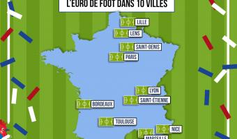 Infographie : carte des 10 villes hôtes de l'Euro 2016 - voir en plus grand