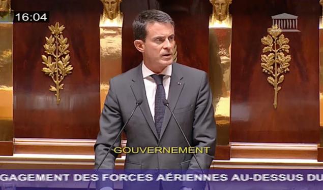 Engagement des forces aériennes au-dessus du territoire syrien : déclaration de Manuel Valls