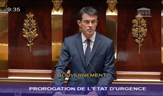 Prolongation de l'état d'urgence : discours de Manuel Valls devant l'Assemblée nationale