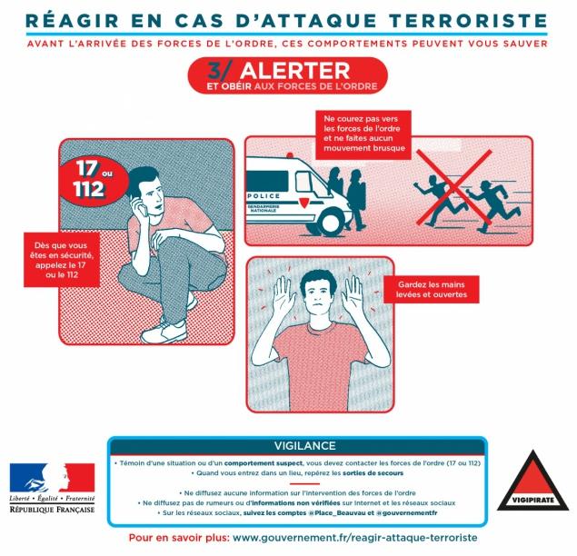 Comment réagir en cas d'attaque terroriste : alerter