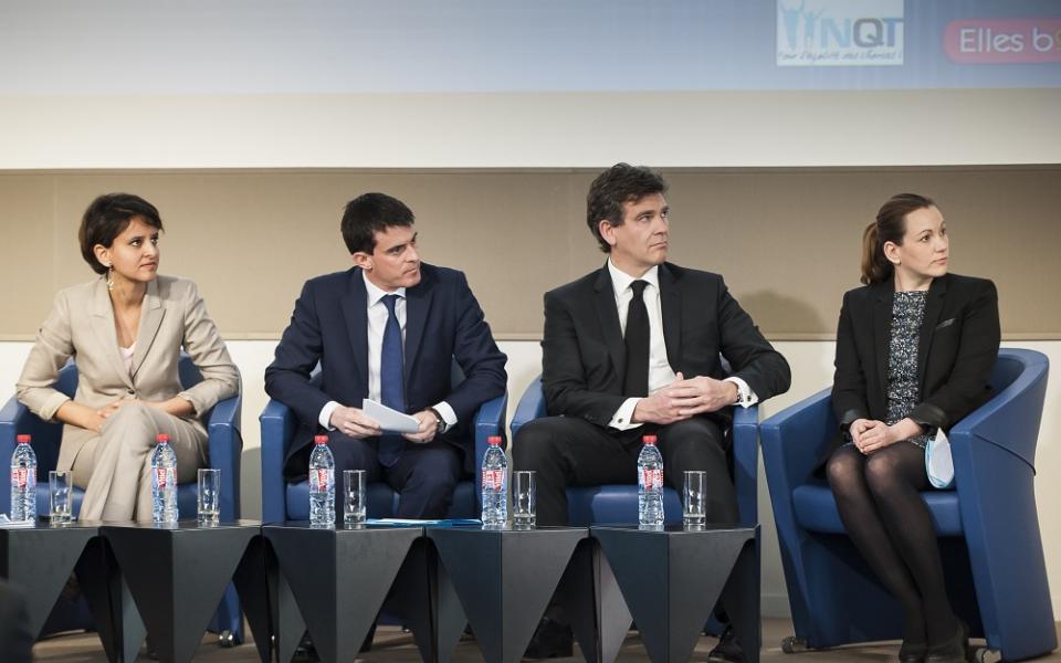 Manuel Valls en compagnie de Najat Vallaud-Belkacem, Arnaud Montebourg et Axelle Lemaire