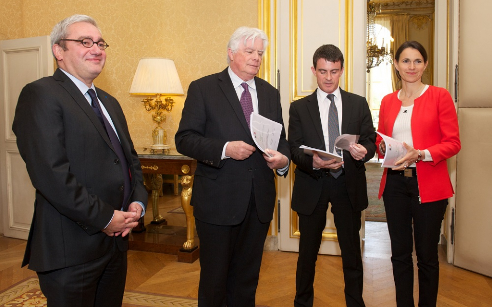 Emmanuel Hoog (PDG de l'AFP), Michel Françaix, Manuel Valls, Aurélie Filippetti