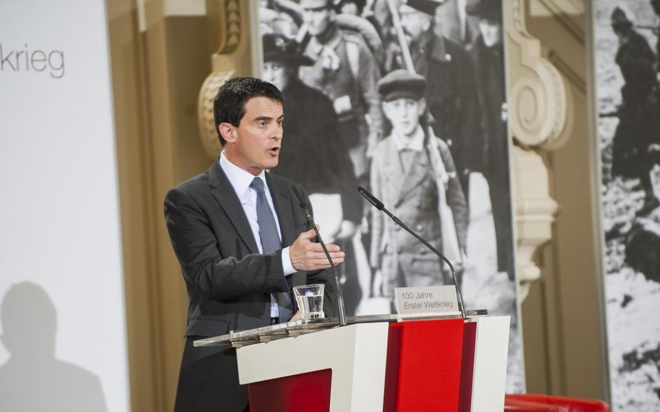 """Manuel Valls à la Conférence sur le """"Centenaire de la Grande Guerre"""""""