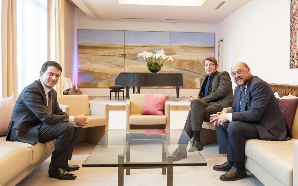 Manuel Valls aux côtés de Martin Schulz