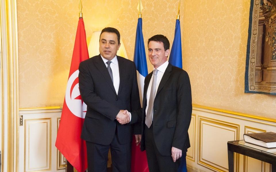 Manuel Valls en compagnie de Mehdi Jomaa