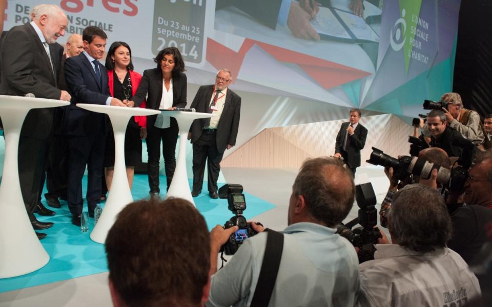 Manuel Valls, Sylvia Pinel et Myriam El Khomri au Congrès de l'Union sociale pour l'habitat