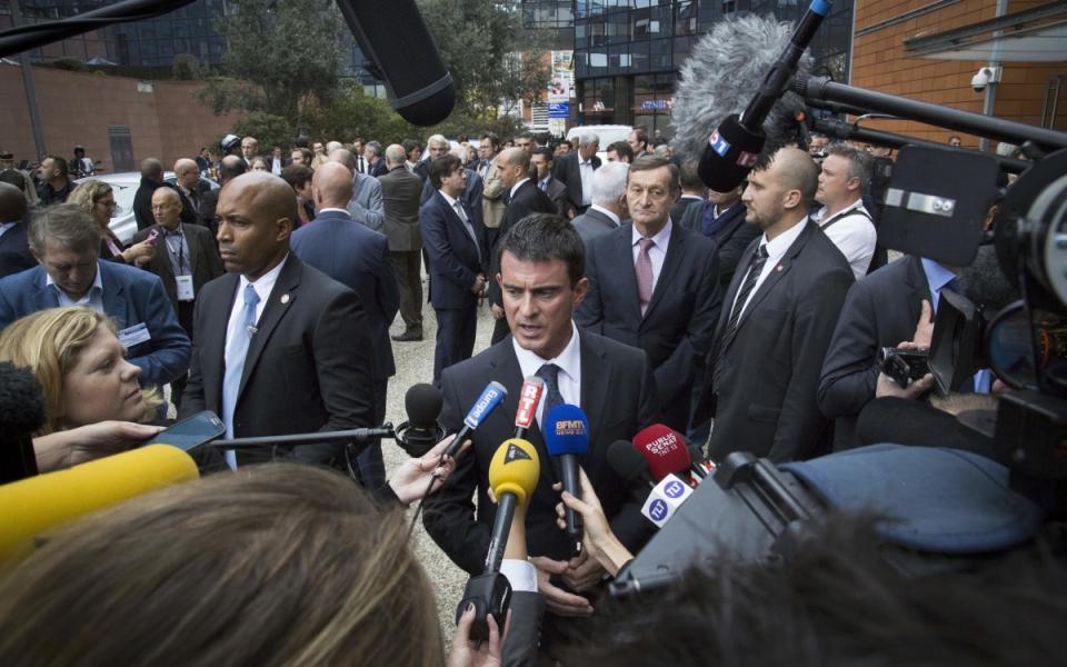 Point presse lors de l'inauguration de l'Oncopole de Toulouse