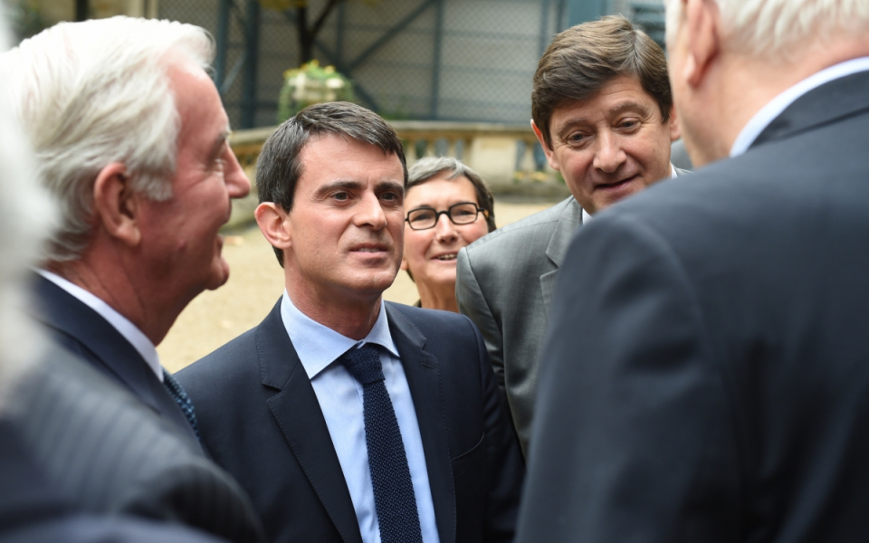 Manuel Valls, Patrick Kanner et le président de l'AMA, Sir Craig Reedie