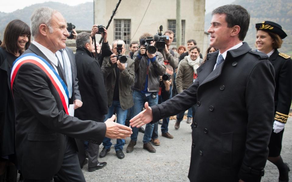 Accuel de Manuel Valls par Jean-Marc Abbadie, maire d'Agos-Vidalos