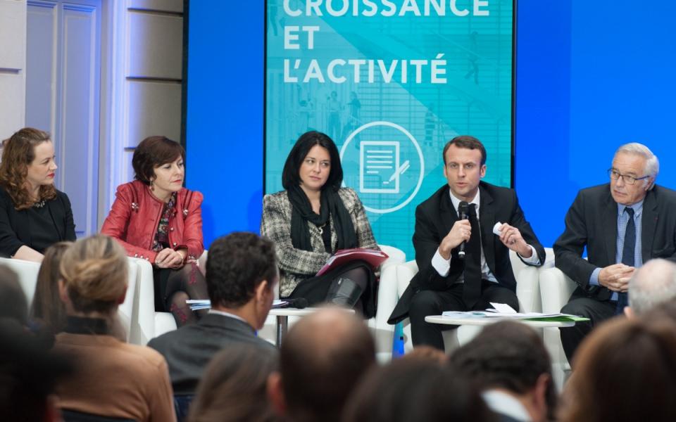 Emmanuel Macron lors de la conférence de presse sur le projet de loi pour la croissance et l'activité
