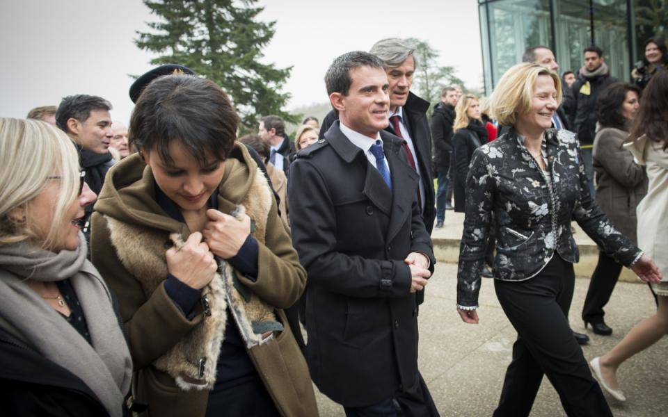 Najat Vallaud-Belkacem, Manuel Valls et Stéphane Le Foll arrivent au lycée agricole de Bougainville