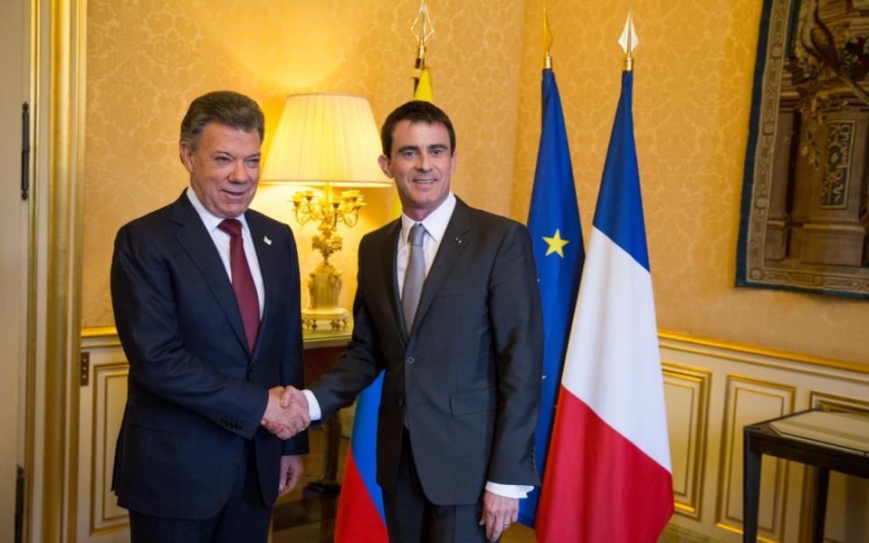 Juan Manuel Santos et Manuel Valls