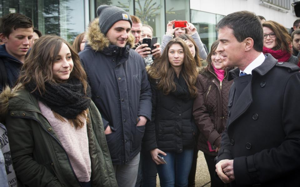 Manuel Valls les collégiens du collège Jean Moulin de Pontault-Combault