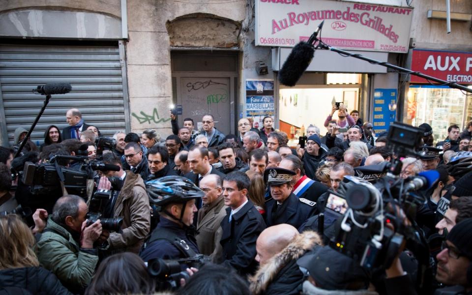 Manuel Valls en déplacement à Marseille, le 9 février