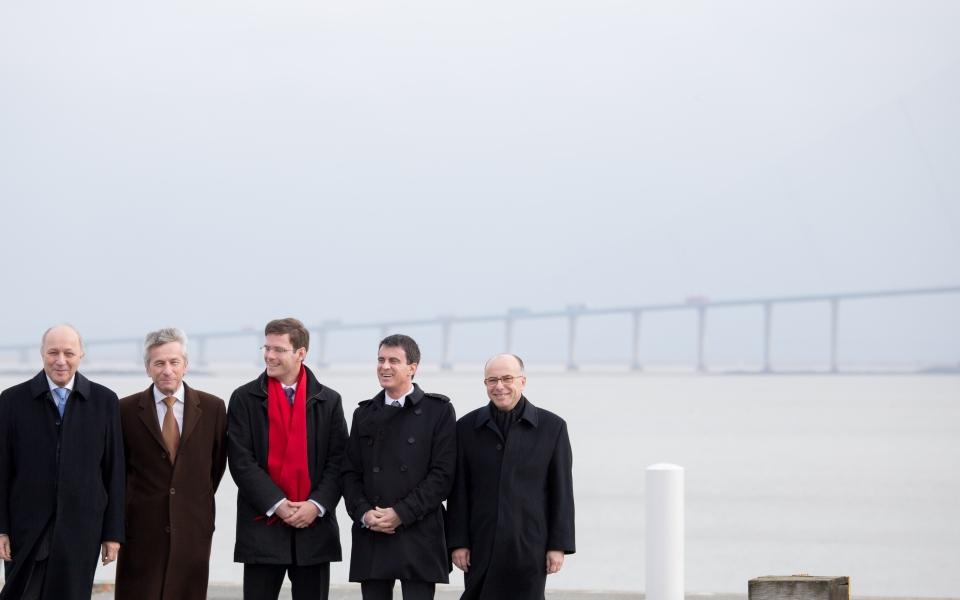 Manuel Valls, Laurent Fabius et Bernard Cazeneuve à Caen