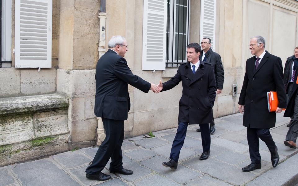 Jean-Paul Huchon accueille Manuel Valls au conseil régional d'Ile-de-France