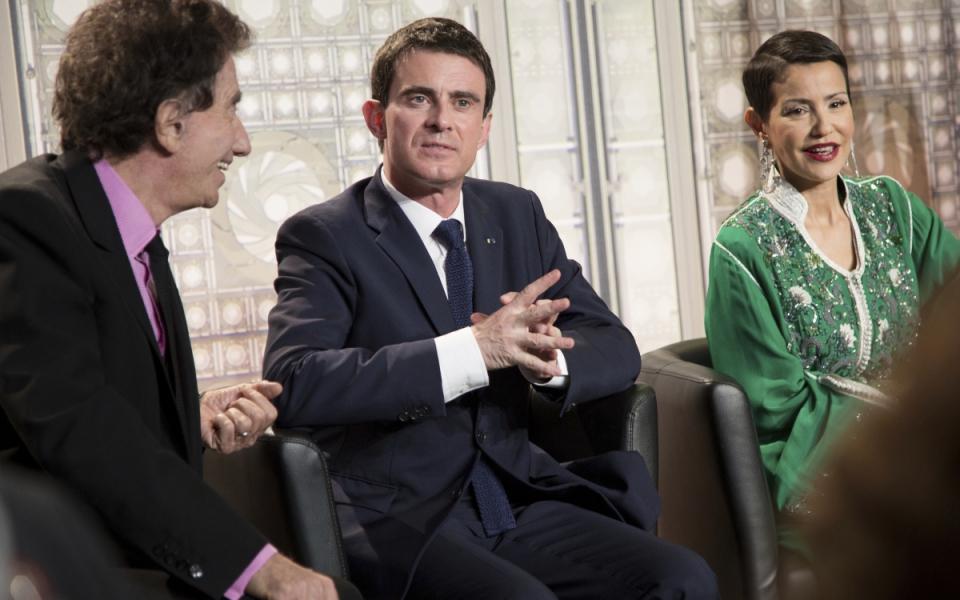 Manuel Valls avec Jack Lang, président de l'Institut du monde arabe, et la princesse Lalla Meryem du Maroc