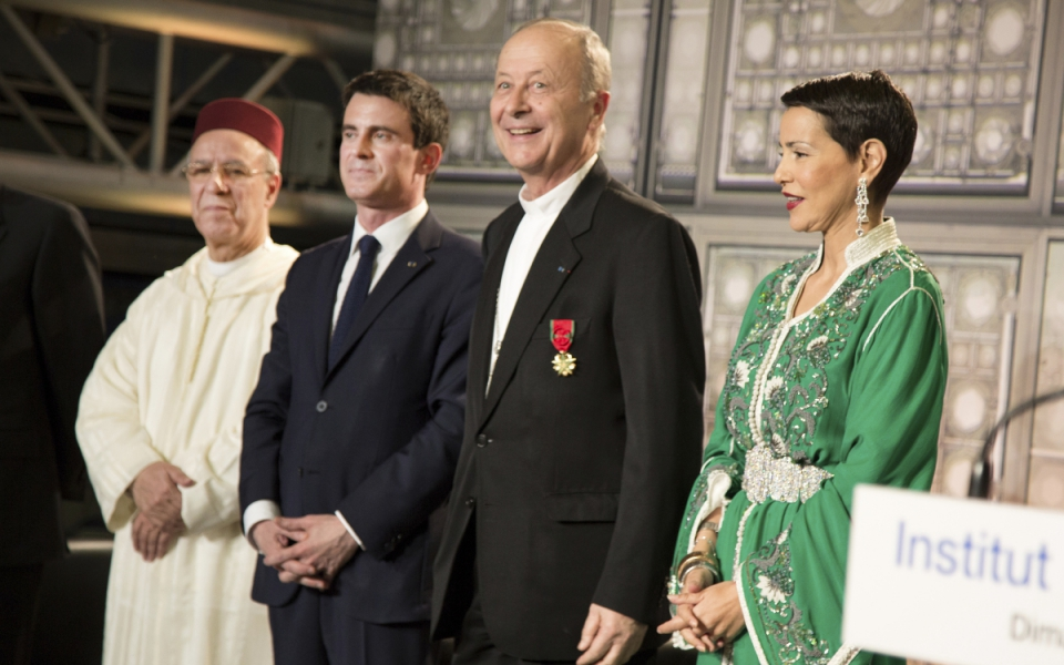 Manuel Valls avec Michel Dubost, évêque d'Evry, et la princesse Lalla Meryem du Maroc