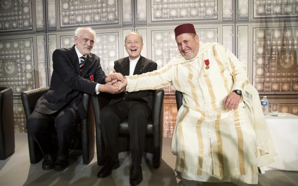 Khalil Merroun, recteur de la mosquée d'Evry, Michel Serfaty, rabbin de Ris-Orangis, et Michel Dubost, évêque d'Evry