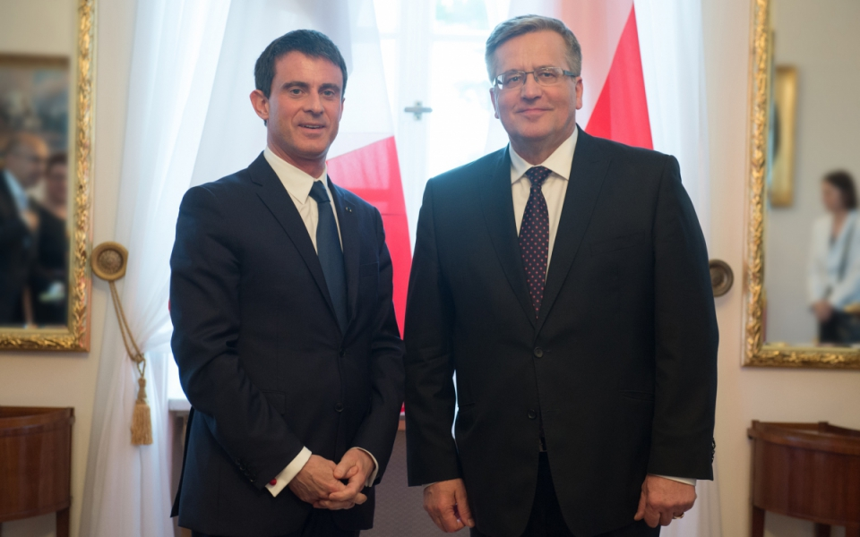 Manuel Valls et le président polonais, Bronisław Komorowski