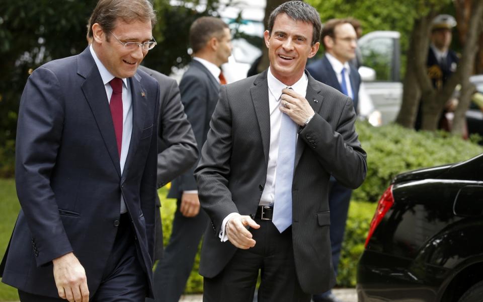 Accueil de Manuel Valls par Pedro Passos Coelho, Premier ministre portugais