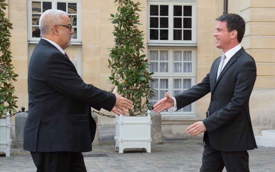 Manuel Valls accueille à Matignon S. Exc. M. Abdelilah Benkirane, chef du Gouvernement du Royaume du Maroc